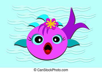 bébé, fish, bouche, ouvert