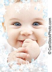 bébé, flocons neige