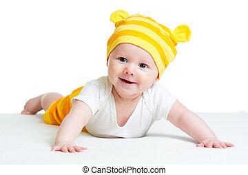 bébé, fond, isolé, chapeau, rigolote, blanc