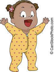 bébé, footie, girl, pyjamas