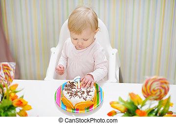 bébé, gâteau, anniversaire, manger