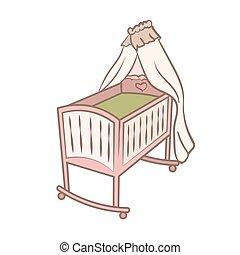 bébé, griffonnage, berceau, illustration