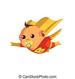 bébé, héros super, dessin animé