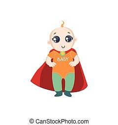 bébé, habillé, superhero, cap rouge