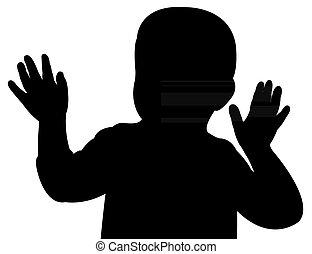 bébé, haut, vecteur, main, silhouette