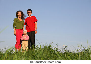 bébé, herbe, stand, famille