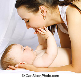 bébé, heure coucher, maman