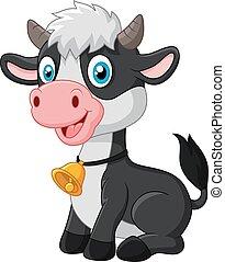 bébé, heureux, animal, vache, séance