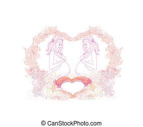 bébé, heureux, carte, douche, femme, pregnant