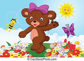 bébé, heureux, dessin animé, ours