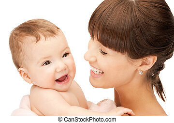 bébé, heureux, mère