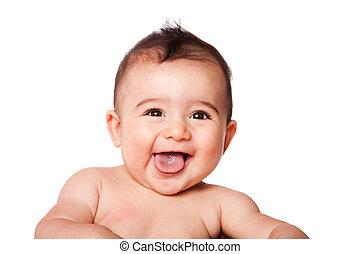 bébé, heureux, rire, figure