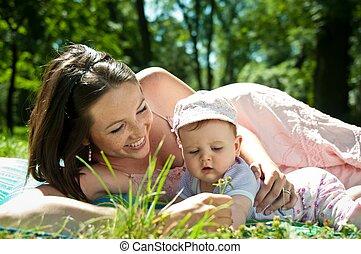 bébé, heureux, temps, -, mère