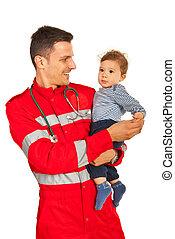 bébé, heureux, tenue, docteur