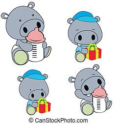 bébé, hippopotame, ensemble, couche, dessin animé
