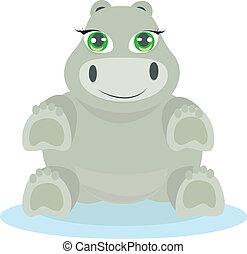 bébé, hippopotame, illustration