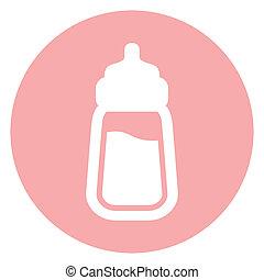 bébé, icône, bouteille lait