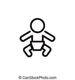 bébé, icône, signe