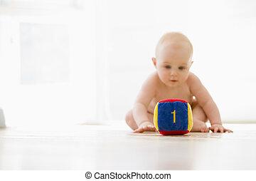 bébé, intérieur, bloc, séance