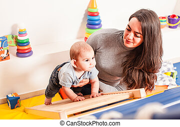 bébé, interaction, entre, mère