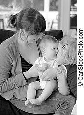 bébé, jeu, mère, elle, enfant