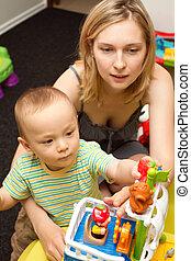 bébé, jeu mère, jouets