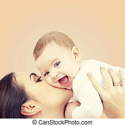 bébé, jouer, rire, mère