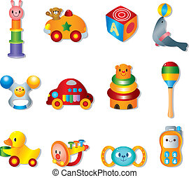 bébé, jouets, jouet, icons., vecteur