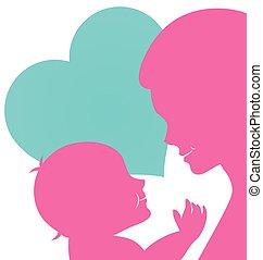 bébé, jour, maman, mères