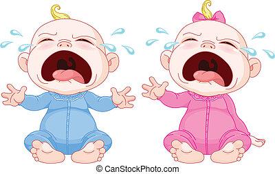 bébé, jumeaux, pleurer