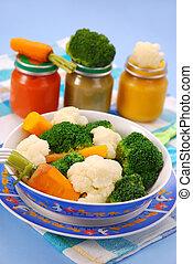 bébé, légumes, cuit vapeur