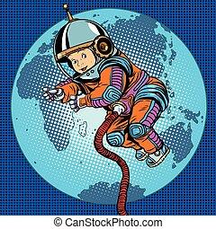 bébé, la terre, astronaute, espace