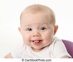 bébé, langue collante dehors