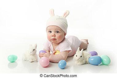 bébé, lapin pâques