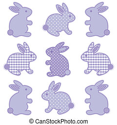 bébé, lapins, vichy, points polka