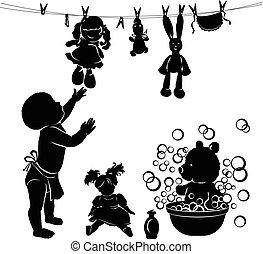 bébé, lave, silhouette, jouets