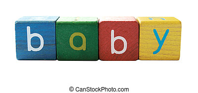 bébé, lettres, bloc