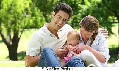 bébé, leur, girl, parents, heureux