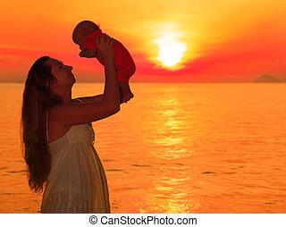 bébé, levers de soleil
