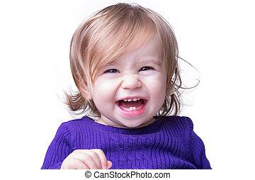 bébé, librement, rire, heureux