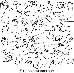 bébé, lineart, mains, meute