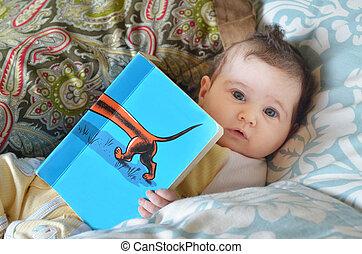 bébé, lire, nourrisson, livre