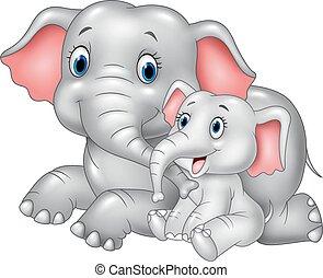 bébé, mère, dessin animé, rigolote