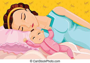 bébé, mère, dormir
