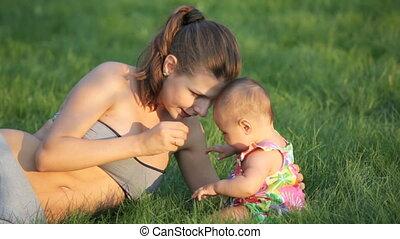 bébé, mère, jeune, nature