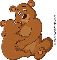 bébé, mère, ours