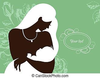 bébé, mère, silhouette, beau