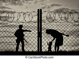 bébé, mère, silhouette, réfugié