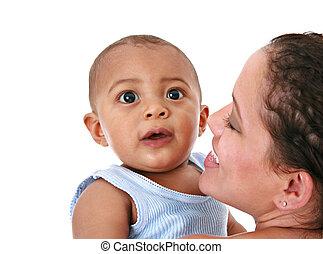 bébé, mère, sourire, tenue