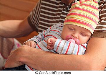 bébé, mains, sommeil homme